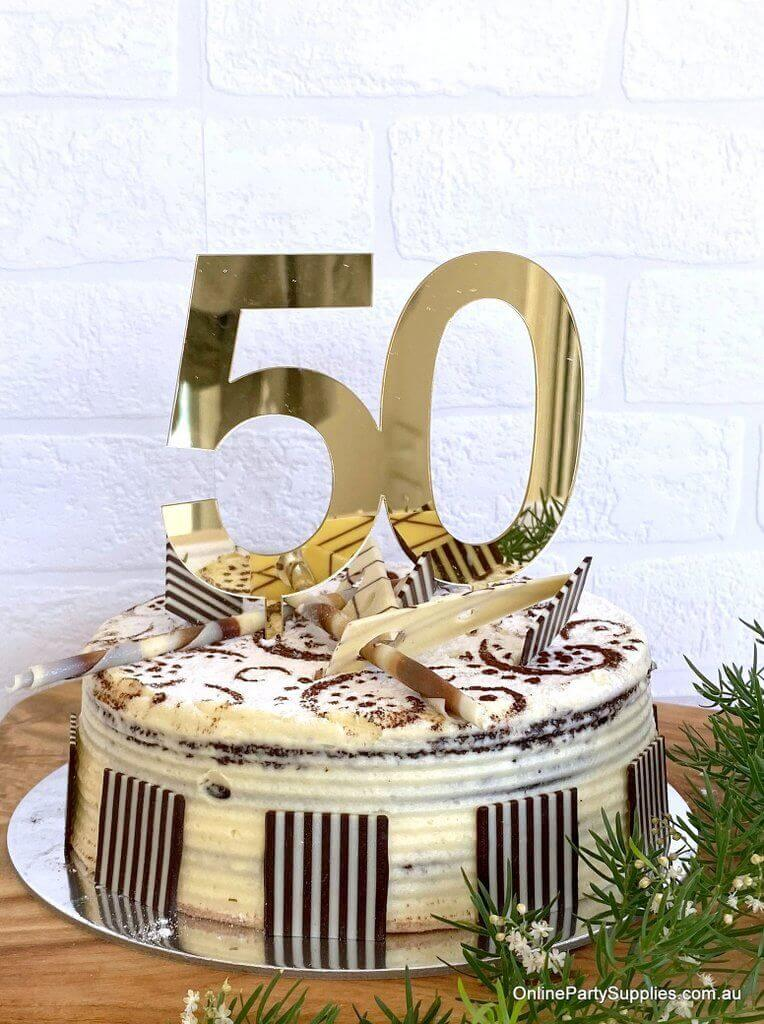 Acrylic Gold Mirror Number 50 Cake Topper 50th Fiftieth Birthday Party Cake Decorations