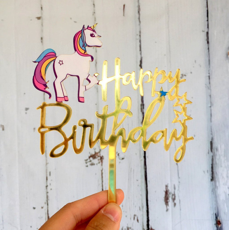 Acrylic Gold Mirror Rainbow Unicorn Happy Birthday Cake Topper - Online Party Supplies