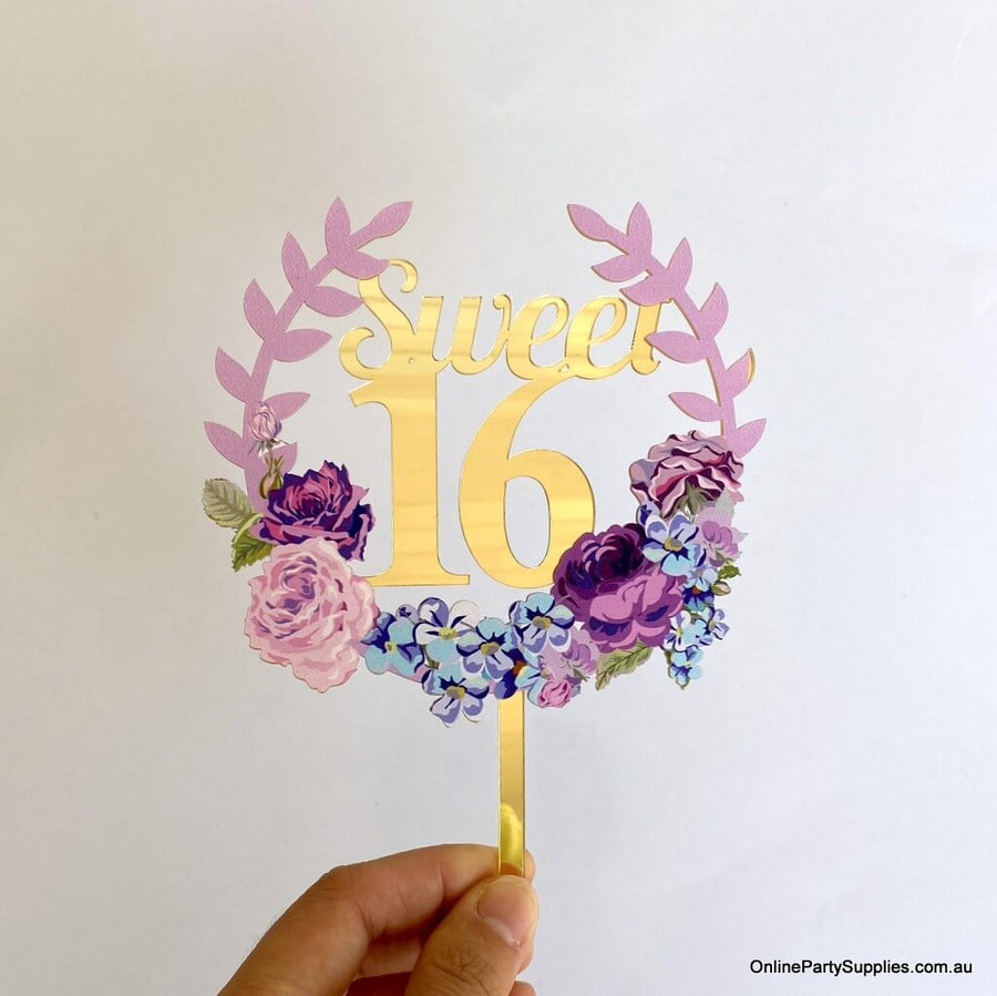 Online Party Supplies Australia gold mirror sweet 16 floral wreath birthday cake topper