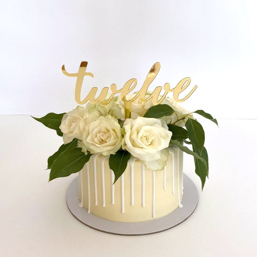 Acrylic Gold Mirror 'Twelve' Cake Topper