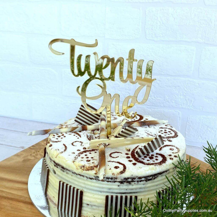 Acrylic Gold Mirror 'Twenty One' Cake Topper - 21st Birthday Party Cake Decorations