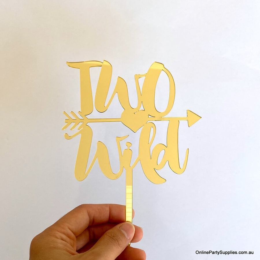 Acrylic Gold Mirror two wild with an arrow Cake Topper