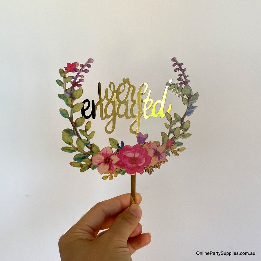 Gold Mirror Acrylic 'We're Engaged' Floral Wreath Wedding Cake Topper - Wedding Party Decorations