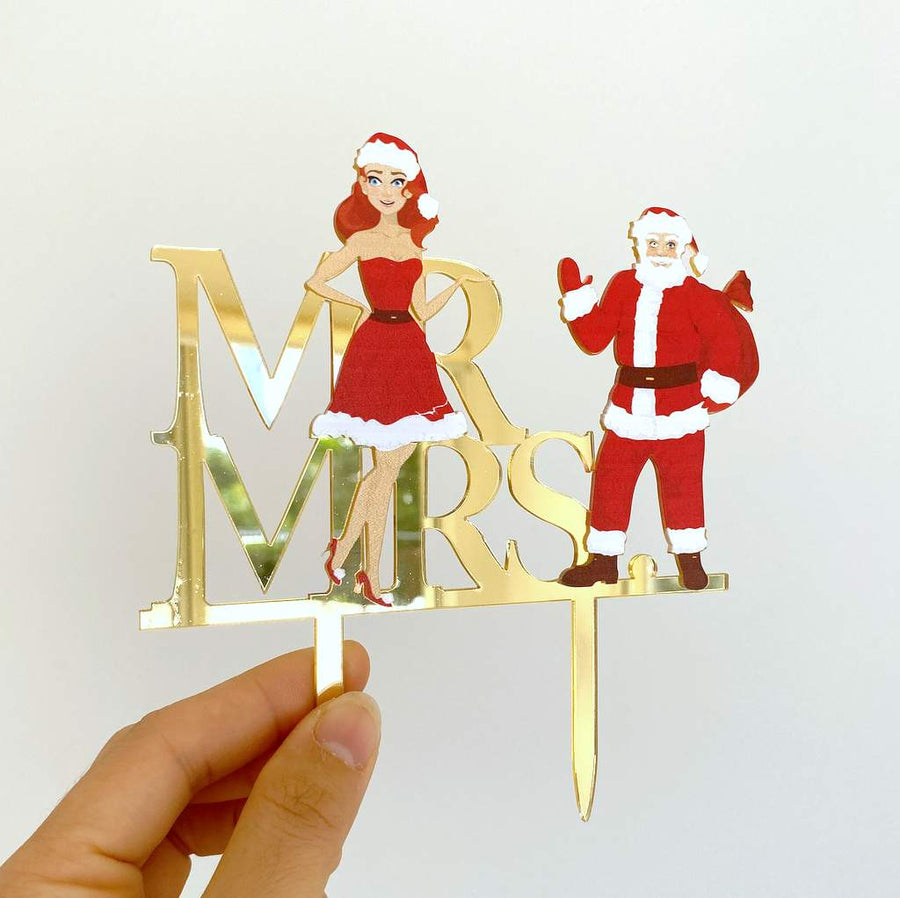 Acrylic Gold Mirror 'Mr and Mrs' Christmas Santa Cake Topper