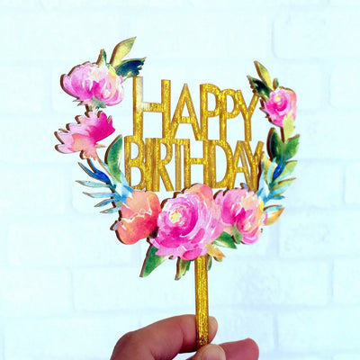 Acrylic 'Happy Birthday' Floral Wreath Cake Topper - Gold Glitter - Online Party Supplies