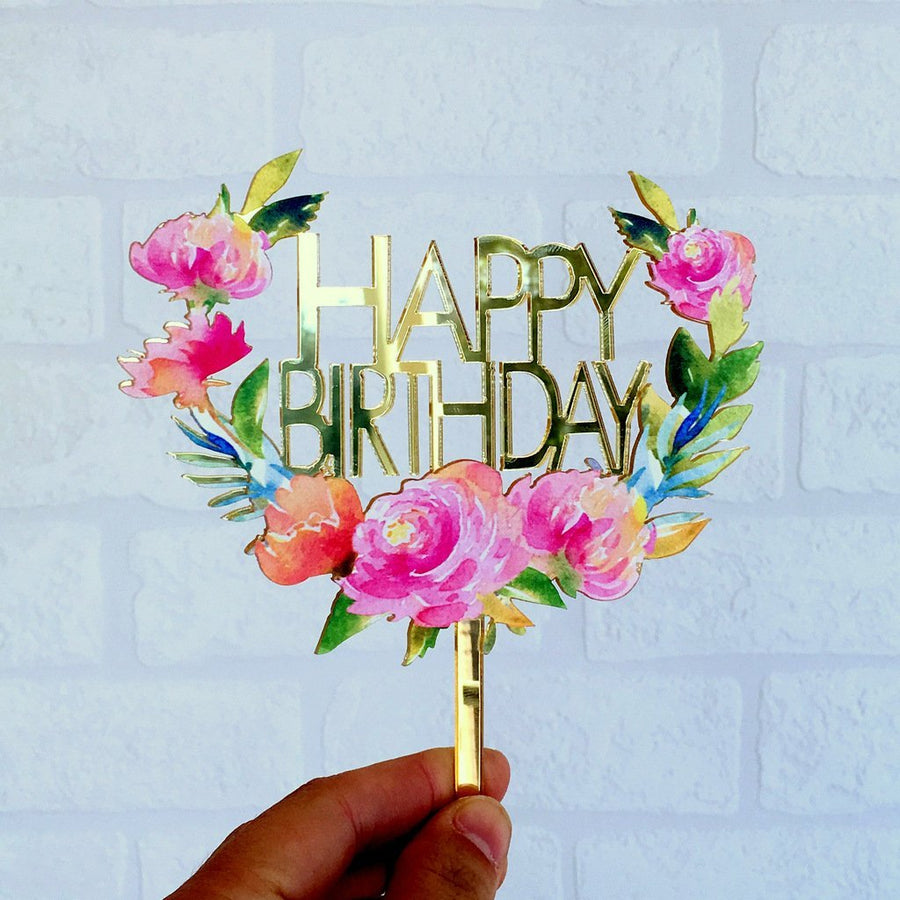 Acrylic 'Happy Birthday' Floral Wreath Cake Topper - Gold Mirror - Online Party Supplies