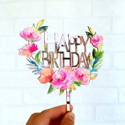 Acrylic 'Happy Birthday' Floral Wreath Cake Topper - Rose Gold Mirror - Online Party Supplies