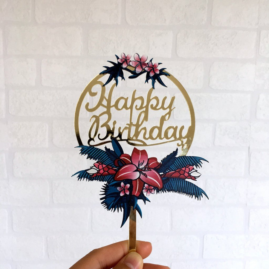 Acrylic 'Happy Birthday' Flower Wreath Cake Topper - Gold Mirror - Online Party Supplies