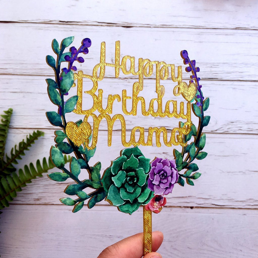 Acrylic 'Happy Birthday Mama' Flower Wreath Cake Topper - Gold Glitter - Online Party Supplies