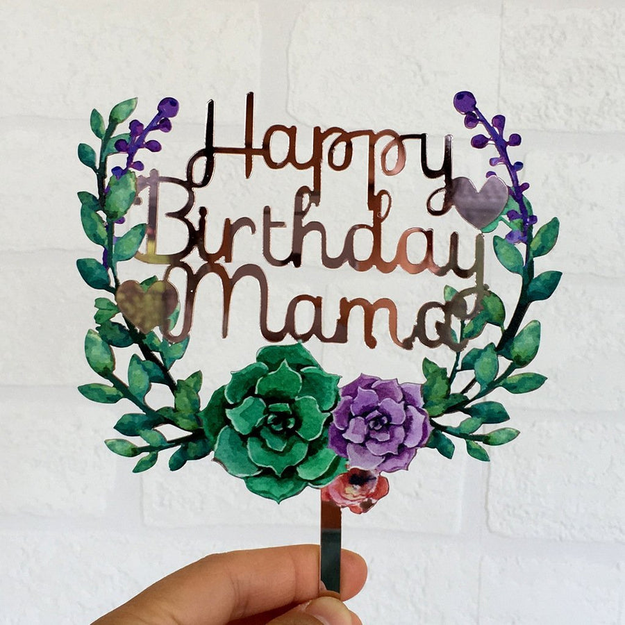 Acrylic 'Happy Birthday Mama' Flower Wreath Cake Topper - Rose Gold Mirror - Online Party Supplies