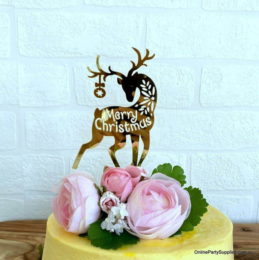 Acrylic Gold Mirror Merry Christmas Reindeer Cake Topper