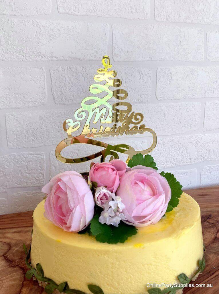 Gold Mirror Acrylic Christmas Tree Cake Topper