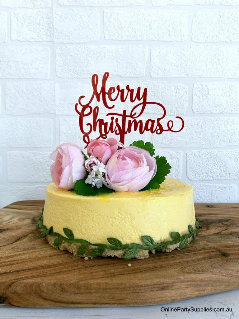 Acrylic Red Merry Christmas Cake Topper