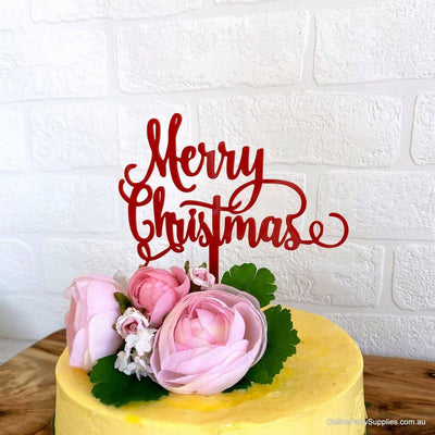 Acrylic Red 'Merry Christmas' Cake Topper - Xmas New Year Party Cake Decorations