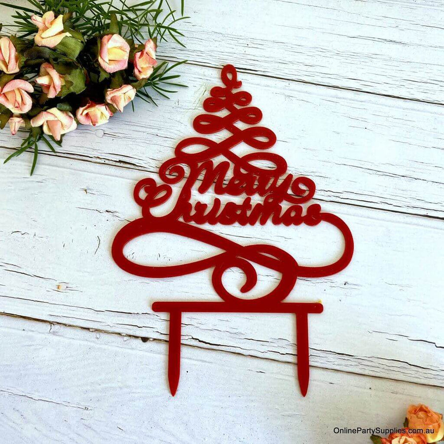 Acrylic Red Christmas Tree Cake Topper