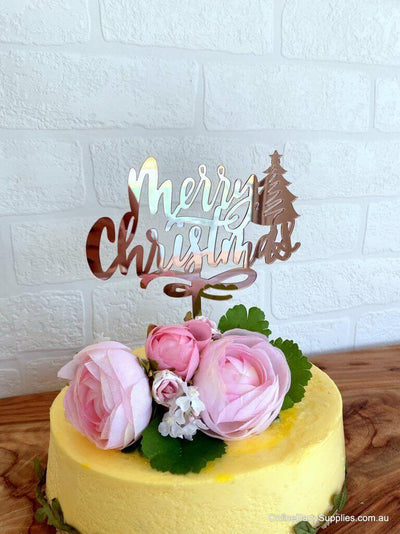 Rose Gold Mirror Acrylic Merry Christmas with Xmas Tree Cake Topper - Xmas New Year Party Cake Decorations