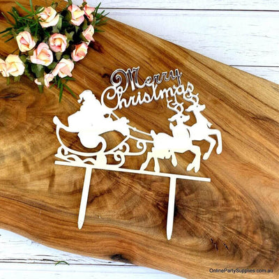 Acrylic Red 'Merry Christmas' Santa Riding Sleigh Cake Topper - Xmas New Year Party Cake Decorations