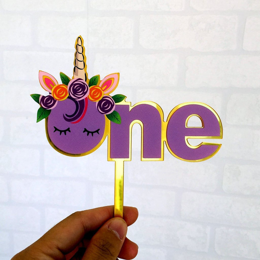 Acrylic Purple Floral Unicorn 'One' Cake Topper - Online Party Supplies