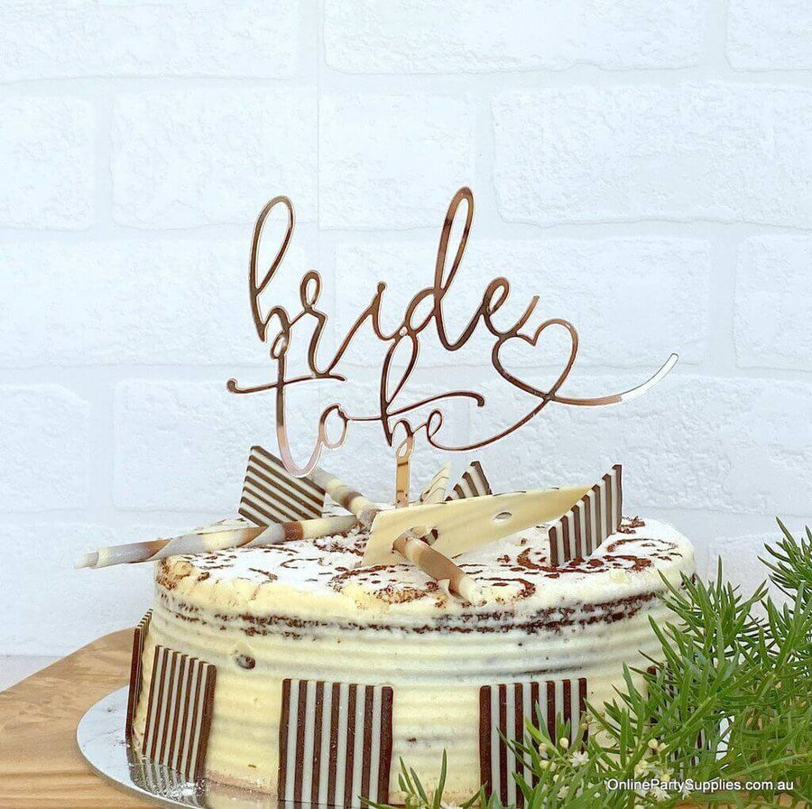 Rose Gold Mirror Acrylic 'Bride To Be' with Heart Wedding Bridal Shower Cake Topper