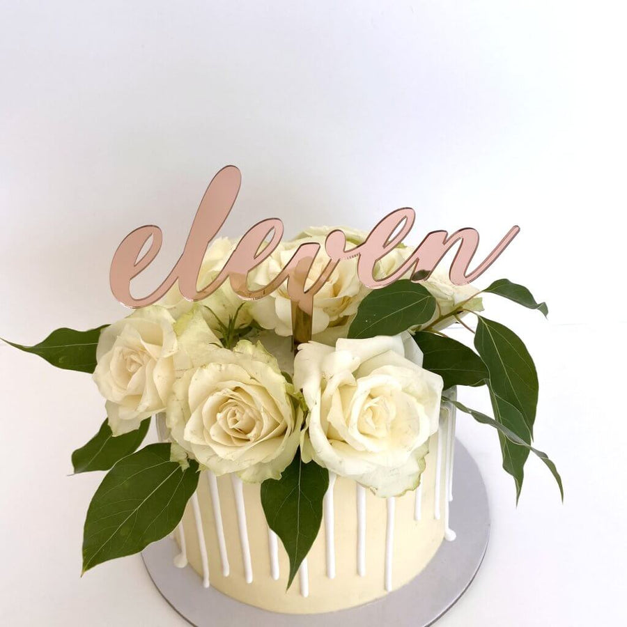 Acrylic Rose Gold Mirror 'eleven' Cake Topper