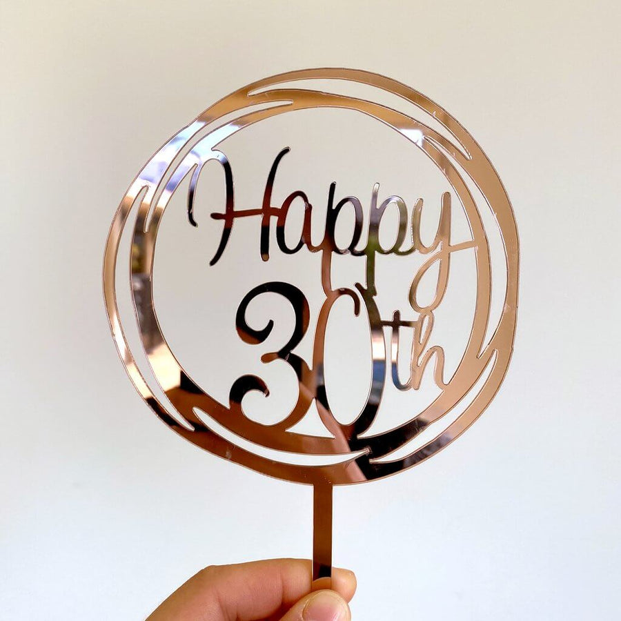 Acrylic Rose Gold Mirror Geometric Circle Happy 30th Cake Topper
