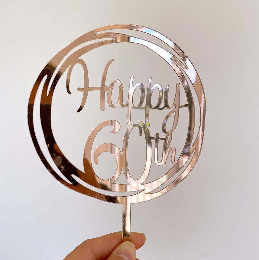 Acrylic Rose Gold Mirror Geometric Circle Happy 60th Cake Topper