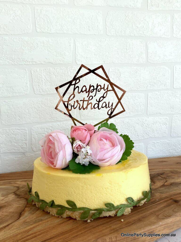 Acrylic Rose Gold Mirror Geometric Hexagon Happy Birthday Cake Topper