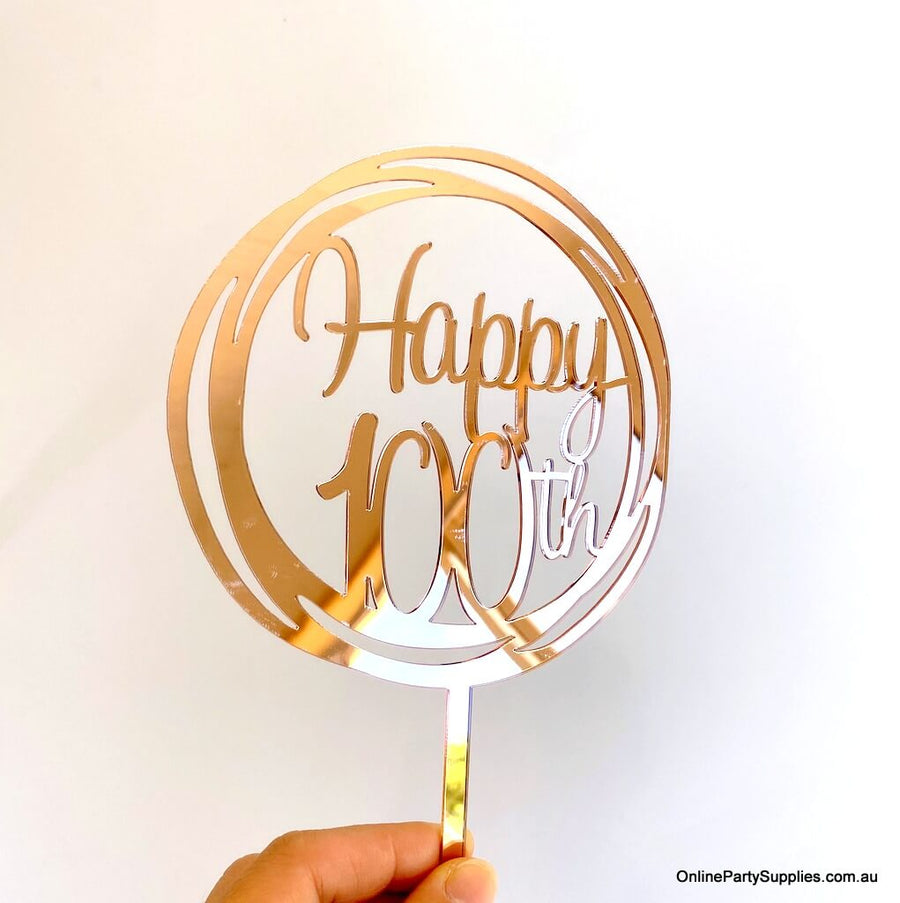 Acrylic Rose Gold Mirror Geometric Circle Happy 100th Cake Topper
