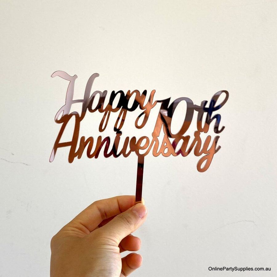 Online Party Supplies Australia Rose Gold Mirror Acrylic 'Happy 10th Anniversary' Cake Topper