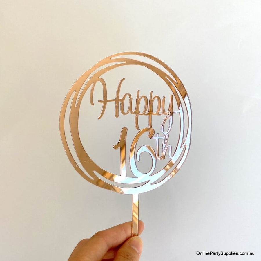 Online Party Supplies Australia Acrylic Rose Gold Mirror Geometric Circle Happy 16th Birthday Cake Topper