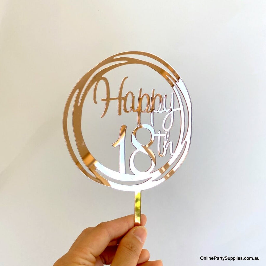 Acrylic Rose Gold Mirror Geometric Circle Happy 18th Cake Topper