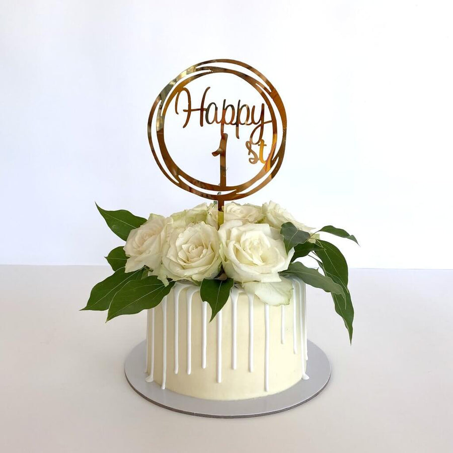 Acrylic Rose Gold Mirror Happy 1st Birthday Geometric Circle Cake Topper