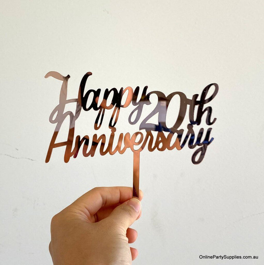 Online Party Supplies Australia Rose Gold Mirror Acrylic 'Happy 20th Anniversary' Cake Topper