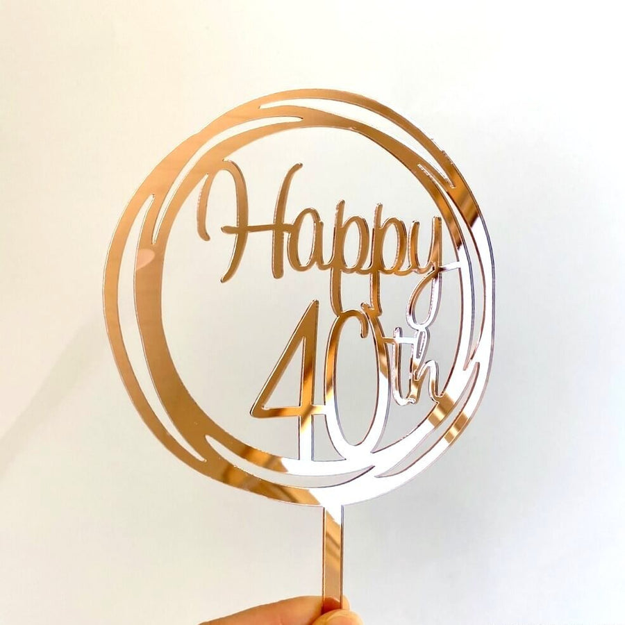 Online Party Supplies Australia Rose gold mirror geometrical circle happy 40th birthday cake topper