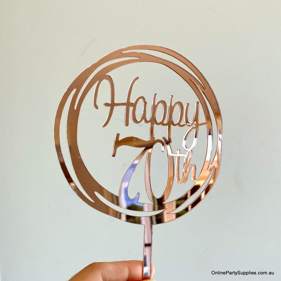 Acrylic Rose Gold Mirror Geometric 'Happy 70th' Cake Topper