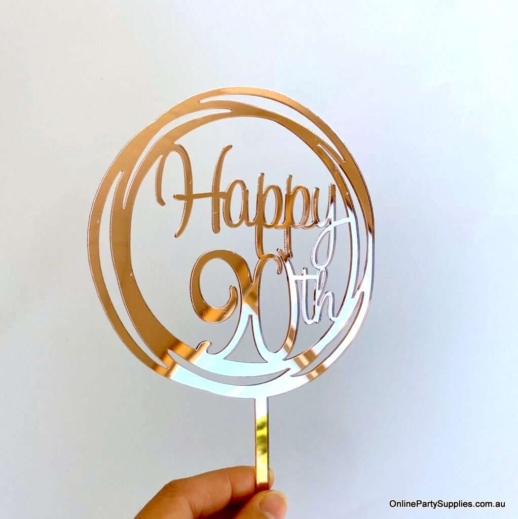 Peachy Rose Gold Mirror Happy 90Th Birthday Cake Topper Online Party Personalised Birthday Cards Veneteletsinfo