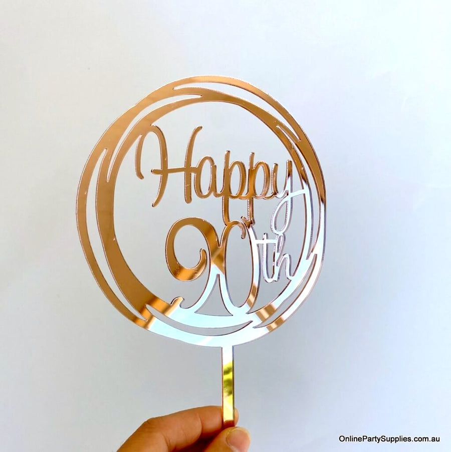 Online Party Supplies Australia Acrylic Black Mirror Geometric Circle Happy 90th Cake Topper