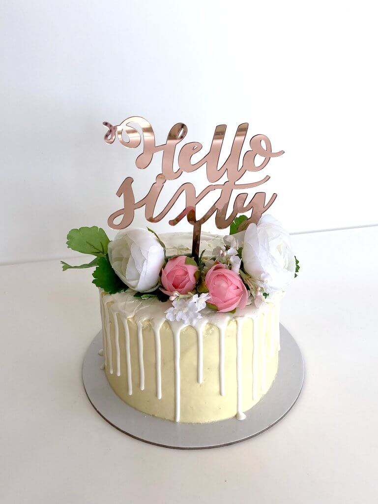 Acrylic Rose Gold Mirror 'Hello Sixty' Happy 60th Birthday Cake Topper