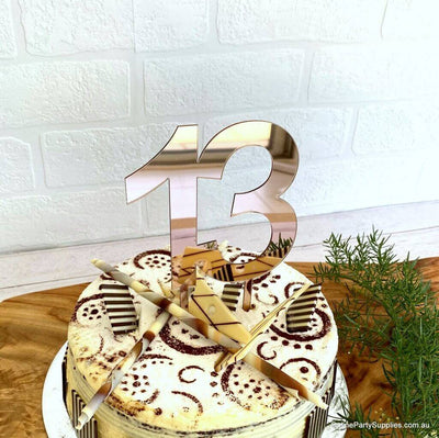 Acrylic Rose Gold Mirror Number 13 Cake Topper - 13th Thirteen Birthday Party Cake Decorations