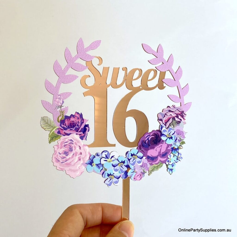 Online Party Supplies Australia rose gold mirror sweet 16 floral wreath birthday cake topper