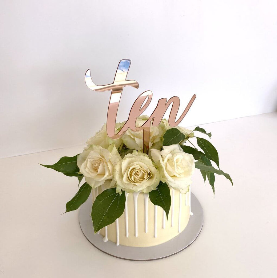 Acrylic Rose Gold Mirror 'Ten' Cake Topper