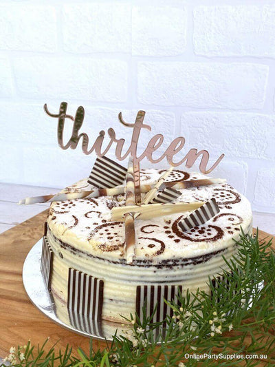 Acrylic Rose Gold Mirror 'Thirteen' Cake Topper - 13th Birthday Party Cake Decorations