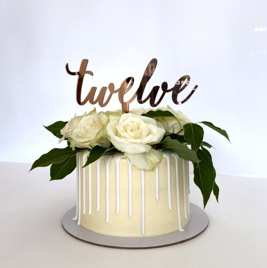 Acrylic Rose Gold Mirror 'Twelve' Cake Topper