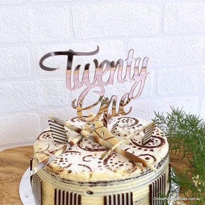 Acrylic Rose Gold Mirror 'Twenty One' Cake Topper - 21st Birthday Party Cake Decorations