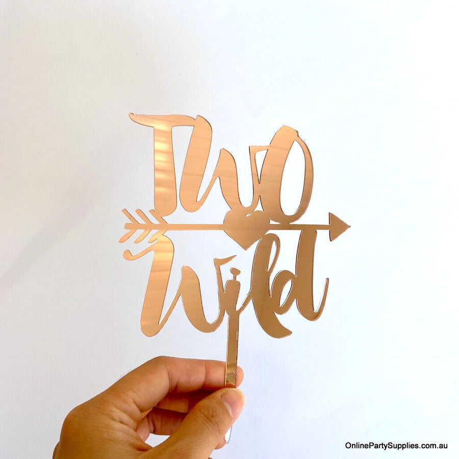 Online Party Supplies Australia rose gold mirror two wild with an arrow birthday cake topper