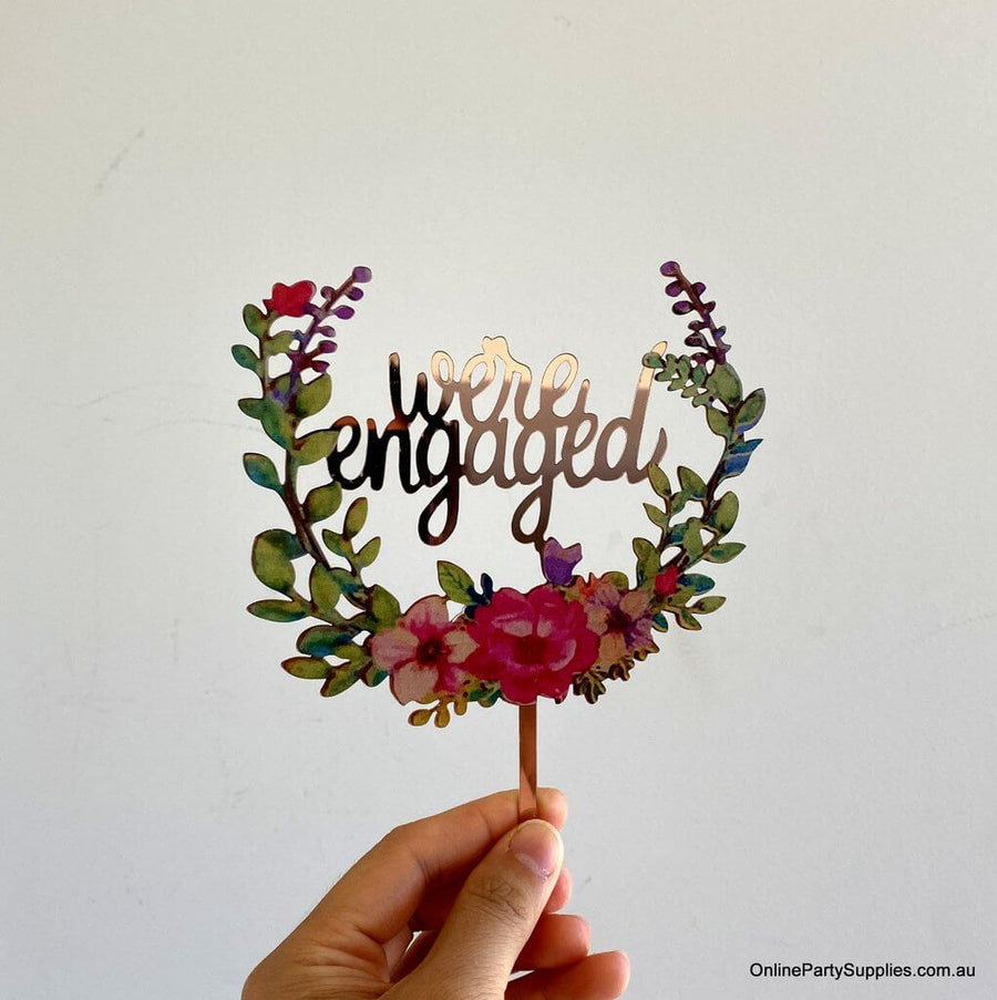 Rose Gold Mirror Acrylic 'We're Engaged' Floral Wreath Wedding Cake Topper - Wedding Party Decorations