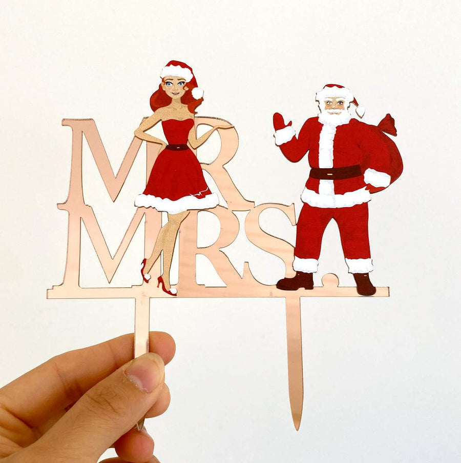 Acrylic Rose Gold Mirror 'Mr and Mrs' Santa Cake Topper
