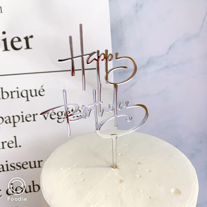 Silver Mirror Happy Birthday Calligraphy Cursive Cake Topper