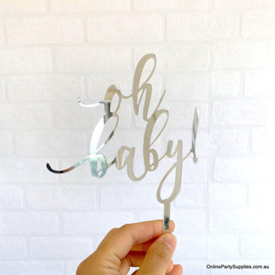 Silver Mirror Acrylic 'oh baby!'  Laser Cut Script Neutral Baby Shower Cake Topper