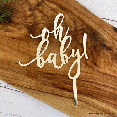 Silver Mirror Acrylic 'oh baby!'  Laser Cut Script Baby Shower Cake Topper